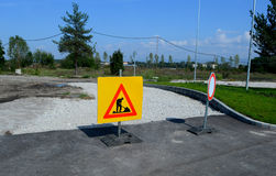 Road works sign for construction works of  Sofia, Bulgaria, Sept 18, 2014 Stock Image