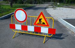 Road works sign for construction works of  Sofia, Bulgaria, Sept 18, 2014 Stock Photography
