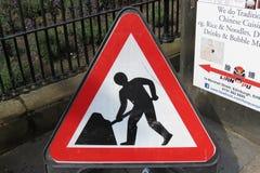 Road works sign in Edinburgh. EDINBURGH, UK - CIRCA AUGUST 2015: Warning signs, Road works traffic sign stock images