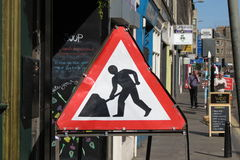 Road works sign in Edinburgh Royalty Free Stock Photography
