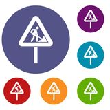 Road works sign icons set Stock Photography