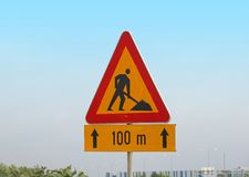 Road works sign. Road works triangle sign outside on the street royalty free stock images