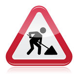 Road works sign, under construction Stock Image