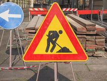 Road works sign Royalty Free Stock Photos