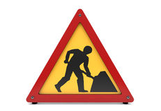 Road works sign on white Royalty Free Stock Image