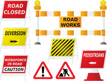 Road works signs. Illustrated road works signs in different variations as part of a set Royalty Free Stock Photography