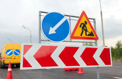 Road Works Signs Royalty Free Stock Photos