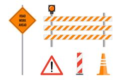 Road works signs set, flat vector illustration. Work road ahead, Stock Images