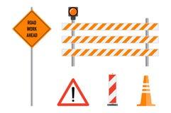 Free Road Works Signs Set, Flat Vector Illustration. Work Road Ahead, Orange Warning Sign, Striped Warning Posts, Barricade, Traffic C Stock Images - 102400174