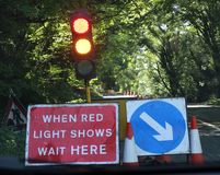 Road Works Signs. Traffic Jams and Road Works Signs royalty free stock image