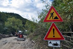 Road works. Road signs warning for road works Royalty Free Stock Photos