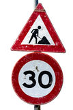 Road works and speed limit sign Stock Photo
