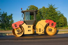 Road works; steamroller Royalty Free Stock Photo