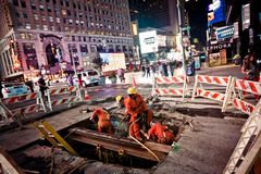 Road works at Times Square Stock Photography