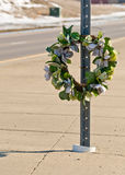 Road Wreath. Memorial Wreath of Flowers for Someone who Died in a Car Accident Stock Photos