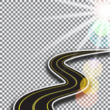 Road with yellow markings, receding into the distance. Abstract 3d. Sunlight. illustration Stock Photography