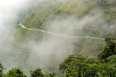 Road in Yungas, Bolivia. Dangerous road in Yungas, the Andes Mountains, Bolivia stock photo