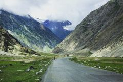 Road in Zanskar Valley. The road in Zanskar Valley stock photography