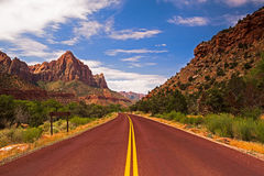 The road in Zion Canyon Stock Photo