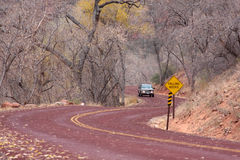 Road through Zion National Park in Utah. S-shaped road through Zion National Park in Utah Royalty Free Stock Images