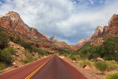 Road through Zion national park in Utah Stock Photography