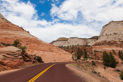 Road through Zion national park in Utah Stock Photo