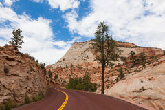 Road through Zion national park in Utah Stock Photos