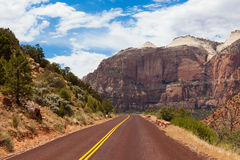 Road through Zion national park in Utah Stock Images