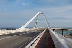 Roadbed of Bridge `Puente Puerta Europa`. Barcelona, Spain Stock Photo