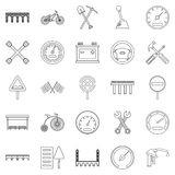 Roadbed icons set, outline style Stock Photography