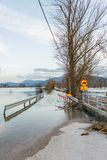 Roadblock beacouse of the floods Royalty Free Stock Photo