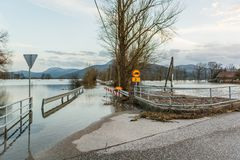 Roadblock beacouse of the floods Royalty Free Stock Photography