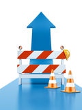 Roadblock and blue arrow Royalty Free Stock Images