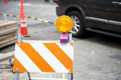 Roadblock on Construction Site Royalty Free Stock Photos