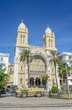 Roadblock in front of catholic cathedral downtown tunis. / tunisia Royalty Free Stock Photo