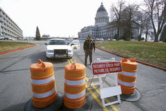 Roadblock security during 2002 Winter Olympics, Salt Lake City, UT Royalty Free Stock Photo