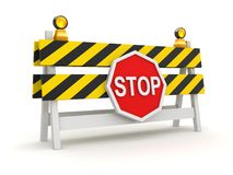 Roadblock with Stop Symbol. This is a 3d rendered computer generated image. Isolated on white Stock Photos