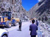 Roadblock in Tibet Royalty Free Stock Image