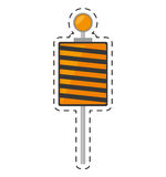 Roadblock traffic light warning cut line Royalty Free Stock Images