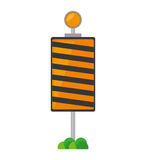roadblock traffic light warning with grass Stock Image