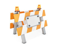 Roadblock on a white. Road barrier with a plate template on a white background. 3d illustration Royalty Free Stock Photography