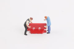 Roadblocks background with mini worker. Toys of mini people at the fun mini world Royalty Free Stock Images