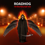 RoadHog Ilustration. With burning  black  scytheman and text-i am waiting for you-over blurred road with lights Stock Images