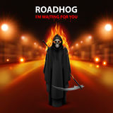 RoadHog Ilustration. With burning  scary scytheman and text-i am waiting for you-over blurred road with lights Royalty Free Stock Photos