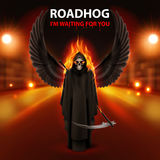 RoadHog Ilustration. With burning   scytheman and text-i am waiting for you-over blurred road with lights Royalty Free Stock Image