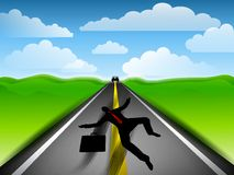 Roadkill Businessman Highway. An illustration featuring a businessman run over by a speeding car to symbolize business failure due to competition or some other Stock Image