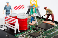 Roadmans repair computer cirquit Royalty Free Stock Image