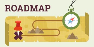 Roadmap with compass and map stock illustration
