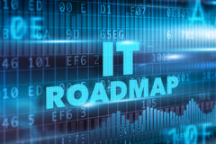 IT roadmap concept. Blue background blue text Royalty Free Stock Photo