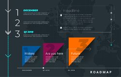 Roadmap set. Lines, arrows, timeline. For registration of sites, a road map for start-ups, polygraphy, infographics, posters. Roadmap set. Lines, arrows royalty free illustration